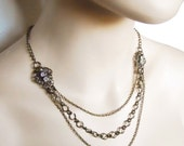 Neo Victorian necklace antique brass with crystals perfect for the steampunk bride- Candle Light Pavillion Ball