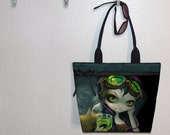 Steampunk Tote Bag TWO SIZES Jasmine Becket-Griffith Absinthe Goggles book bag large purse, canvas tote, shoulder bag Market bag