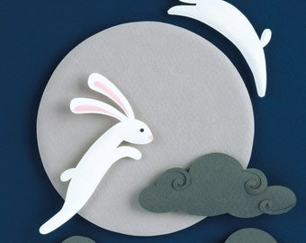Postcard - Moon Rabbits - mini art print of an original paper sculpture by Tiffany Budzisz