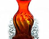 Tangerine Optic Swirl Blenko Vase, Joel Myers #6810, red to yellow amberina color, vintage 1960s glassware