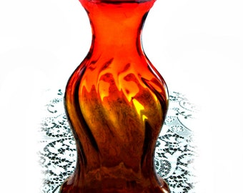 Tangerine Optic Swirl Blenko Vase, Joel Myers #6810, red to yellow amberina color, vintage 1960s glassware
