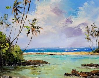 TROPICAL ISLAND SCENE Framed Original Oil Painting Art Hawaii Tahiti South Pacific Tropics Ocean Surf Waves Sea Sun Lagoon Sand Palm Trees