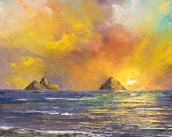 LANIKAI MORNING Original 8x10 Palette Knife Oil Painting Art Kailua Beach Oahu Tropical Ocean Mokulua Island Wedding Hawaii Sunrise Sky Sun