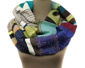 Sophie | Handwoven Purple and Green Scarf | Chic Heirloom Woven Scarf | Women's Weaving Loom Modern Bufanda | Mens Handwoven Fashion | H63