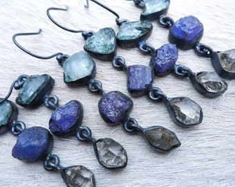 SEMI-ANNUAL SALE Aquamarine earrings   Tanzanite earrings   Herkimer Diamond Crystal earrings   Dangle earrings   Boho earrings   Raw crysta