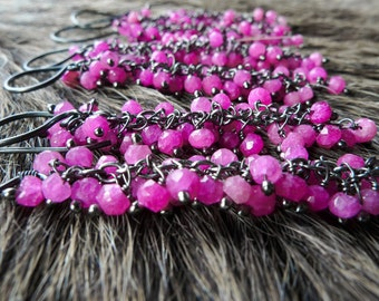 SALE Ruby earrings | July birthstone earrings | Ruby dangle earrings | Pink ruby stone earrings | Ruby chandelier earrings