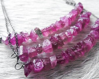SALE Pink tourmaline necklace | Raw tourmaline necklace | Tourmaline crystal necklace | Pink stone necklace | Pink tourmaline