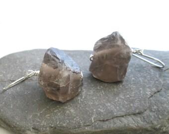 Raw Smoky Quartz Earrings, Chunky Stone Jewelry, Canadian Jewellery