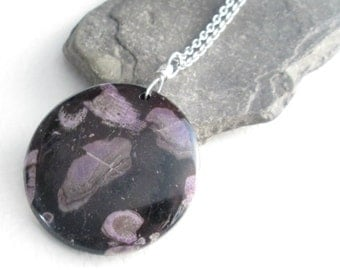 Purple Coral Fossil Pendant, Black Stone Necklace, Geek Jewelry, Unusual Gift