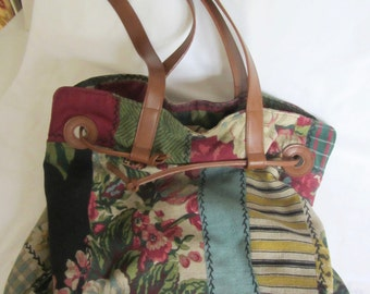 Womens Vintage Tote Market Bag Patchwork Barkcloth - Sale Clearance