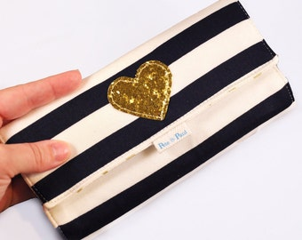 DELUXE WOMEN'S WALLET /// Black and White Striped Womens Wallet, Gold Black and White, Checkbook Wallet