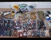 SALE!!!! HUGE lot vintage rhinestones, findings, filigrees,  beads, settings, chain - free ship U.S. complete diy jewelry kit and repair
