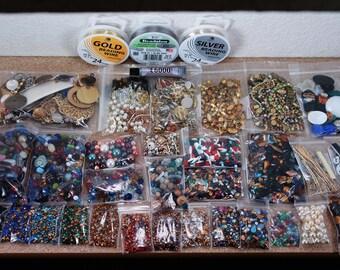 Super SALE - HUGE lot DIY jewelry kit vintage loose rhinestones findings filigrees beads settings chain stampings brass free ship U.S.