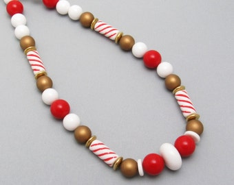 Vintage Necklace Red White Gold Beads Plastic Jewelry N7477