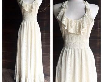1970s Lace Ruffle Halter Maxi Dress - 70s Boho Bohemian Lace Wedding Dress