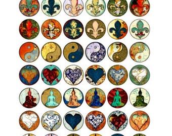 One Inch Art Circles, Fleur de Lis, Hearts, Buddha, Yin Yang, Digital Collage Print Sheet no266