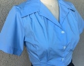 Solid light blue cotton (Version 1) 1940s style short sleeve cotton blouse M to XL Ready to Ship