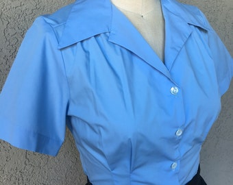 Solid light blue cotton (Version 1) 1940s style short sleeve cotton blouse S to XL Ready to Ship