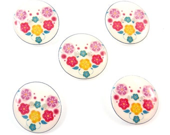 "5 Handmade Buttons. Flower Buttons.  3/4"" or 20 mm Flower Sewing Buttons. Craft Buttons.  Novelty buttons."