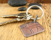 Deer keychain, engraved key chain, gifts for him, copper keychain embossed with whitetail deer silhouette, key fob gift for deer hunter.