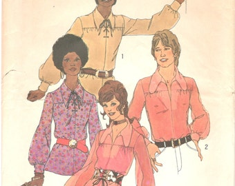 Simplicity 9435 1970s Mens Groovy Shirt Pattern Dog Ear or Pointed Collar Adult Vintage Sewing Pattern Size Medium Chest 38 40