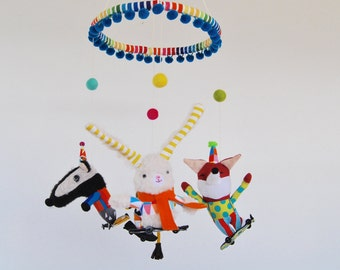 Skateboarding Animals Baby Mobile //  A Modern and Colorful Mobile for Fun-Loving Parents