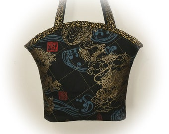 FREE Ship USA Canada - J Castle Boutique Bag - Oriental Asian Black Designer Fabric - - - (Ready to Ship)