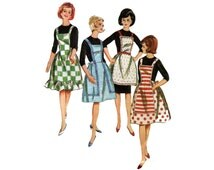1960s Kitchen Apron Pattern Full Bib Apron with Trim Variations Cobbler Pockets Ruffle Butterick 3307 One Size Vintage Sewing Pattern