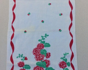 Vintage Towel Marigold Flower w Geranium Leaves