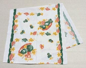 Vintage Fruit Runner or Towel Bowls of Cherries Grapes & Pineapple