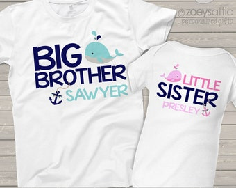Big brother little sister or any brother/sister combination nautical anchor and whale sibling Tshirt and bodysuit set MBEH1-002-2