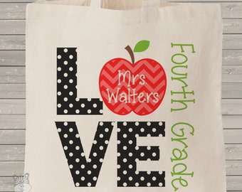 Teacher tote bag- love school personalized school bag for teachers or students - choose value or heavyweight tote