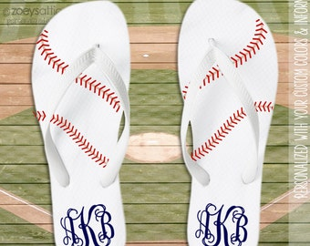 Baseball monogram personalized flip flops  - great gift for birthday or Mother's Day