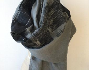 002 dark gray linen scarf print industrial