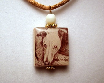 WHIPPET Necklace / UPCYCLED Scrabble Pendant / Dog Gift / Handmade Jewelry Charm