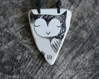 Black and White Beach Pottery Owl Necklace