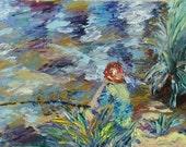 The Boy's gone Fishing - Original 5x7 inches, Palette Knife Oil Painting by Prerana Kulkarni