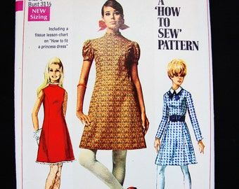 1960s Dress Pattern Misses size 8 UNCUT A line Dress with Detachable Collar Vintage Sewing Patterns Simplicity Pattern