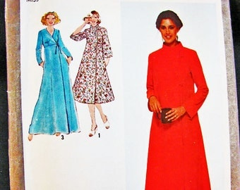 1970s Empire Waist Wrap Robe Pattern size 18 Bust 40 UNCUT two lengths Womens Robe Vintage Sewing Pattern 70s