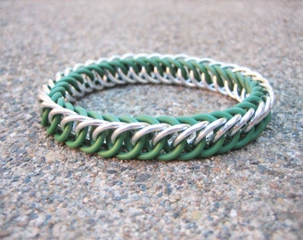 Slytherin Silver and Green Harry Potter Themed Stretchy Chainmaille Bracelet - Half-Persian 4-in-1 Weave