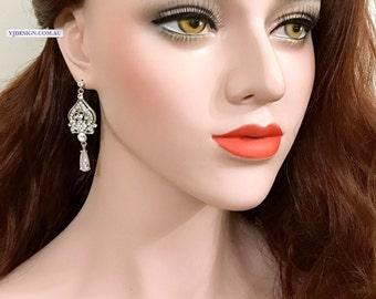 Chandelier Bridal Earrings, Silver Wedding Earrings, Victorian Wedding Jewelry, Swarovski Crystal Bridal Jewelry, Cz Drop Earrings, ALLY