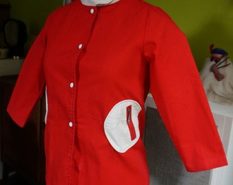 red white mod canvas jacket coat space age