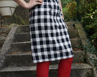 vintage wiggle dress black white checked