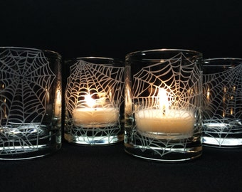 Webs 4 Glass Votive Candle Holders Halloween Favors Engraved 'Webs' Party Favors Unique Decor