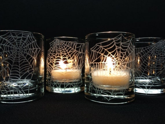 Halloween Candles Engraved 'Webs' 4 Glass Votive