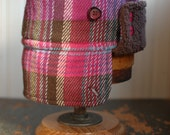 Furry Russian S: bomber style earflap hat in pink plaid wool, russian hat for girls, womens winter hat, warm ear flap hat, hot pink colbacco