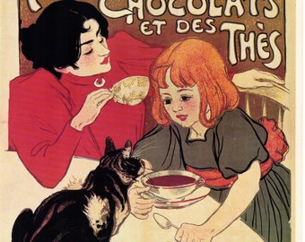 Mother and Child Drink Chocolate French Poster - Compagnie Francaise Des Chocolats 1890's Advertisement 1968 Reproduction Print 8-1/2 x 12