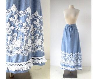 70s Embroidered Floral Skirt / Maxi Skirt / Chambray Skirt / Bohemian Skirt / 25-26W