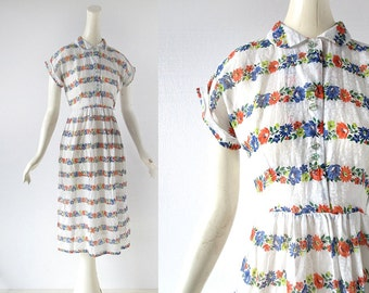 Vintage 1940s Dress | Bright Blooms | Floral Print Dress | 40s Dress | XXS XS