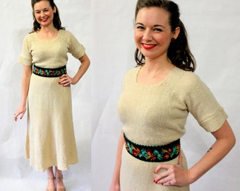 1940s hand knit metallic gold dress